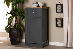 Modern Kitchen Cabinet, Charcoal/Oak, rollover