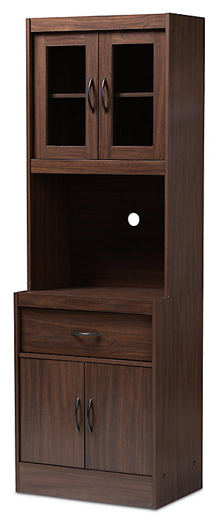 Modern Kitchen Cabinet and Hutch, Walnut, large