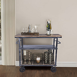 Armen Living Industrial Kitchen Cart in Industrial Gray and Pine Wood, , rollover