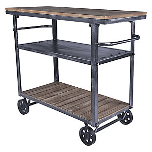 Armen Living Industrial Kitchen Cart in Industrial Gray and Pine Wood, , large