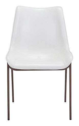 Margarite Stainless Steel Dining Chair (set of 2), White, large