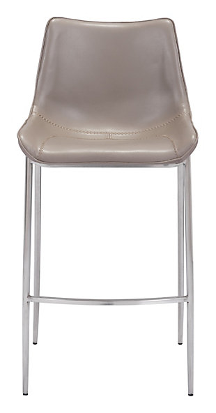 Margarite Stainless Steel Bar Height Bar Stool (set of 2), Gray/Silver Finish, large