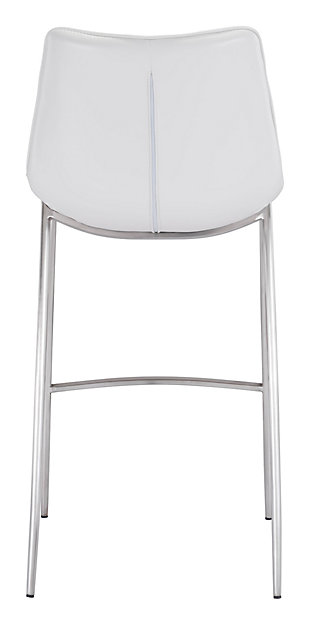Margarite Stainless Steel Bar Height Bar Stool (set of 2), White/Silver Finish, large