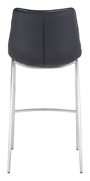 Margarite Stainless Steel Bar Height Bar Stool (set of 2), Black/Silver Finish, large