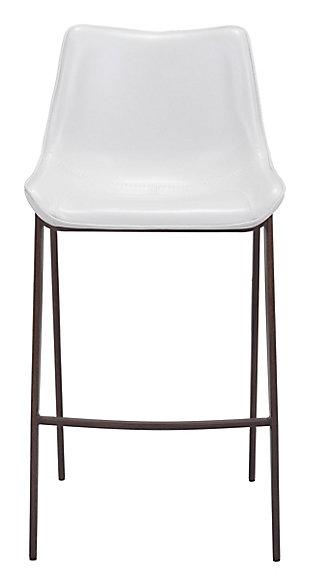 Margarite Stainless Steel Bar Height Bar Stool (set of 2), White/Brown, large