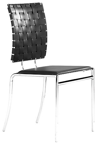 Carrie Leatherette Woven Dining Chair (Set of 4), Black, large
