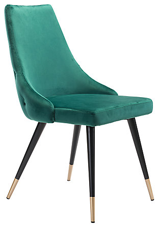 Posano Velvet Dining Chair (Set of 2), Green, large
