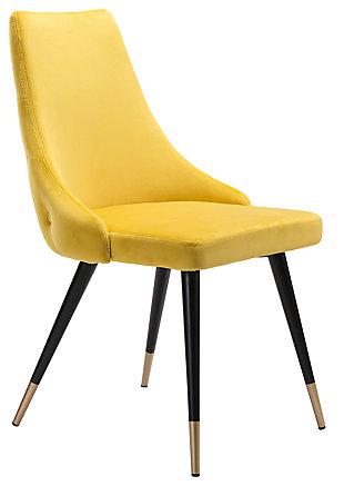 Posano Velvet Dining Chair (Set of 2), Yellow, large