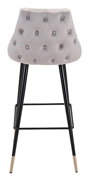 Posano Velvet Bar Height Bar Stool, Gray, large