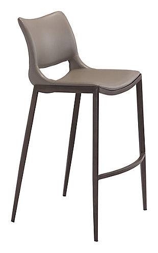 Ava Stainless Steel Bar Height Bar Stool (Set of 2), Gray, large