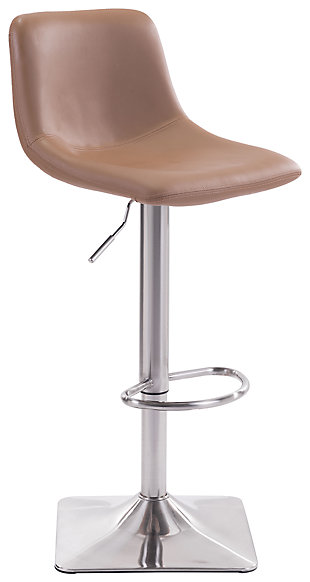 Harvey Adjustable Height Bar Stool, Brown, large