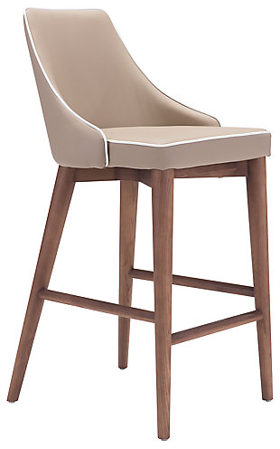 Santi Leatherette Counter Height Bar Stool, Beige, large