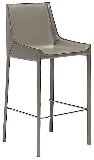 Luna Bar Height Bar Stool (Set of 2), Gray, large