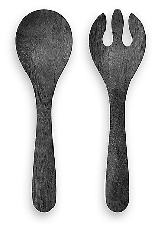 Melamine Faux Blackened Wood Server Set (Set of 2), , large