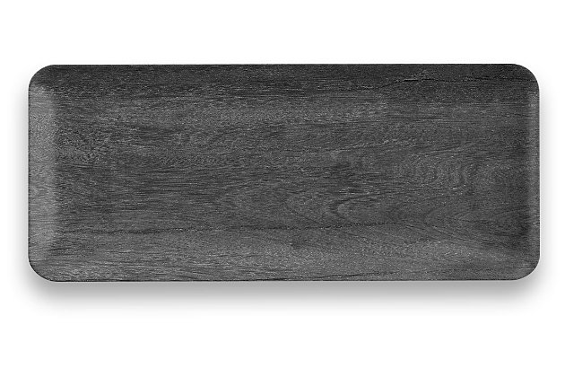 Melamine Faux Blackened Wood Tray, , large