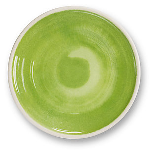 Tarhong Raku Green Salad Plate (Set of 6), Green, rollover