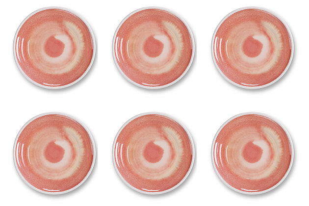Tarhong Raku Coral Salad Plate (Set of 6), Pink, large