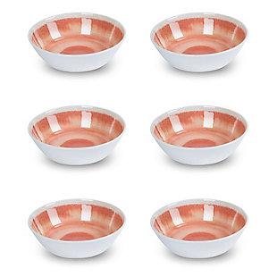 Tarhong Raku Coral Bowl (Set of 6), Pink, large