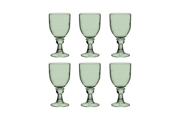 Tarhong 18.4 oz Cordoba Recycled Green Goblet (Set of 6), Green, large