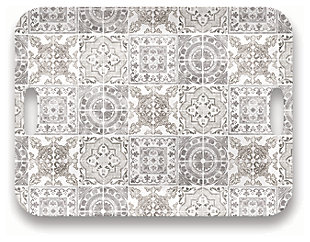 Tarhong Portico Tile Gray Handled Tray, , large