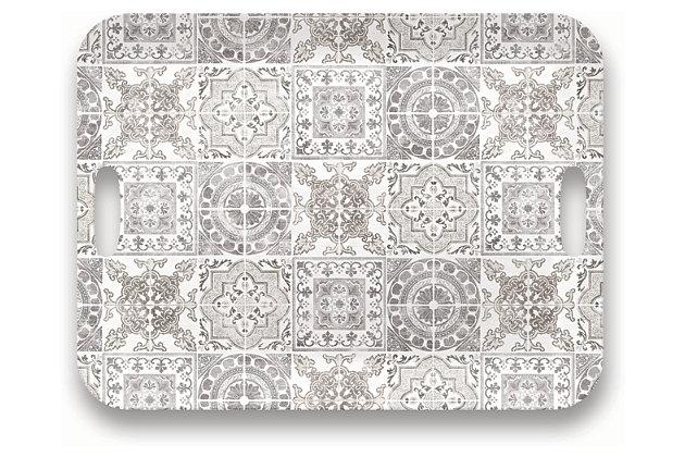 Tarhong Portico Tile Gray Handled Tray, , large