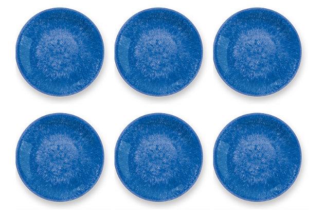 Tarhong Bali Brights Blue Reactive Dinner Plate (Set of 6), Blue, large