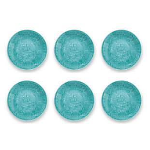 Tarhong Bali Brights Aqua Reactive Dinner Plate (Set of 6), Teal Blue, large