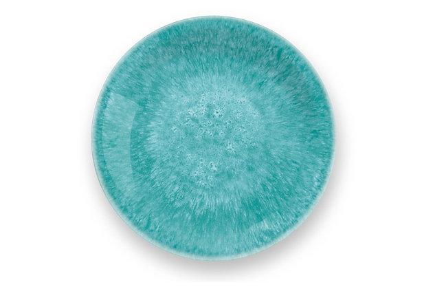Tarhong Bali Brights Aqua Reactive Salad Plate (Set of 6), Teal, large