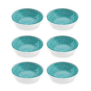 Tarhong Bali Brights Aqua Reactive Bowl (Set of 6), Teal, large