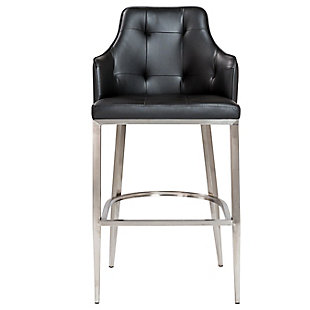 Euro Style Aaron Counter Stool in Black with Brushed Stainless Steel Legs, Black, rollover
