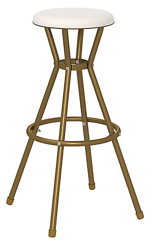 Cosco White and Gold Bar Stool (Set of 2), , large