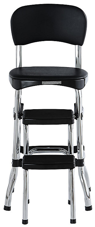 Cosco Retro Step Stool with Sliding Steps, Black, large