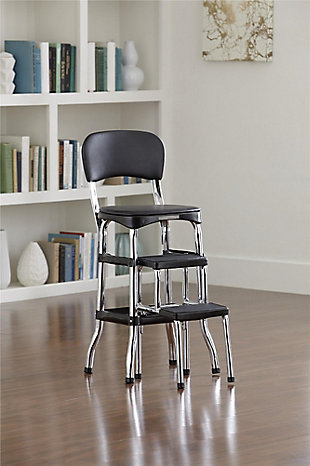 Cosco Retro Step Stool with Sliding Steps, Black, rollover