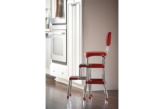 Cosco Retro Step Stool with Sliding Steps, Red, large