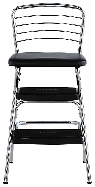 Cosco Retro Step Stool with Flip-Up Seat, Black/Chrome Finish, large