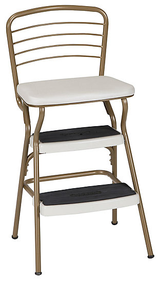 Cosco Retro Step Stool with Flip-Up Seat, Gold, large