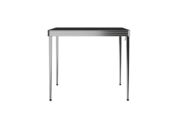 "Cosco Square 32"" Square Vinyl Top Folding Table, Silver, large"