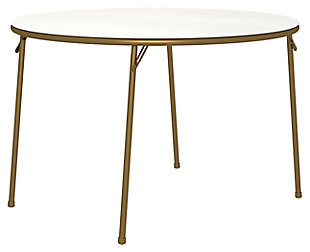 "Cosco Round 44"" Round Vinyl Top Folding Table, Gold Finish/White, large"