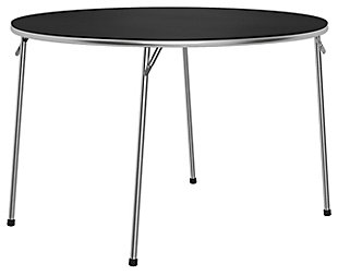 """Cosco Round 44"""" Round Vinyl Top Folding Table, Silver/Black, large"""