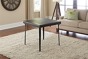 """Cosco Folding 32"""" Square Wood Table with Vinyl Inset, , rollover"""