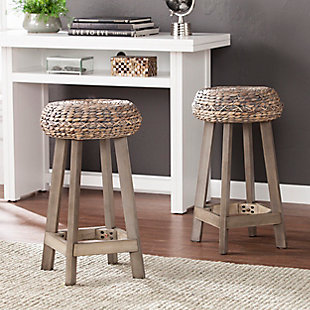 SEI Water Hyacinth Backless Counter Height Bar Stool (Set of 2), Gray, rollover