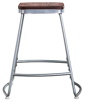 SEI Industrial Backless Counter Height Bar Stools (Set of 2), Brown/Silver, large
