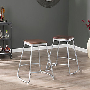 SEI Industrial Backless Counter Height Bar Stools (Set of 2), Brown/Silver, rollover
