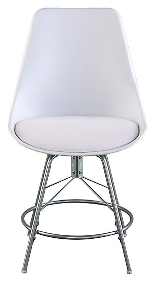 SEI Modern Dining Chairs (Set of 2), White/Silver Finish, large