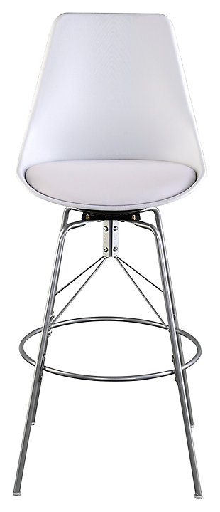 SEI Modern Counter Height Bar Stools (Set of 2), White/Silver Finish, large