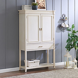 SEI Whitewashed Fold-Out Bar Cabinet, , rollover