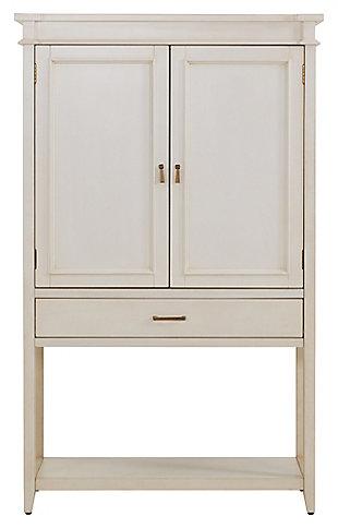 SEI Whitewashed Fold-Out Bar Cabinet, , large