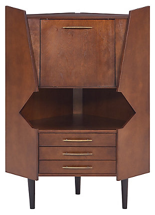 SEI Mid-Century Corner Bar Cabinet, , large