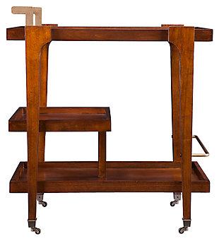 SEI Mid-Century Modern Bar Cart, Brown, large