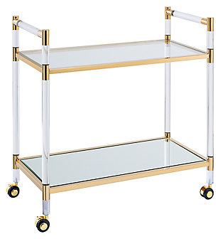 SEI Acrylic Bar Cart, Gold Finish, large